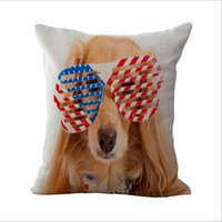 Wholesale national beds online - United States Britain national flag pet dog Cotton Linen Pillow Case Cushion Covers Throw pillow case home Bedding set Pillowcase DHL