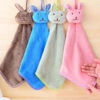 руки свободные кролик оптовых-Высокое качество детское полотенце новый милый кролик детские полотенце для рук мягкие детские мультфильм животных висит протрите ванна лицо Бесплатная доставка