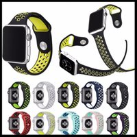 Hot Sales NK Hole Loops Strap Ersatz Silikon Handgelenk Armband Sport Band Strap Für Apple Watch Serie 1 2 Strap 38 / 42mm