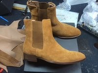 Wholesale Korean Style For Work - Fashion Genuine leather Wyatt Western Biker Booties for men Flats Korean Style Ankle Chelsea Boots Factory Real Pics Big Size Euro 46