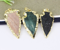 Wholesale agate druzy gold pendant for sale - Group buy 10pcs Nature Druzy Jasper Arrow pendant Gold Electroplated Nature Color Druzy Agate Gemstone pendant For Making Jewelry