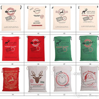 Wholesale gift bags dhl shipping for sale - New Types Christmas Large Canvas Monogrammable Santa Claus Drawstring Bag Xmas Reindeer Monogramable Gifts Sack Bags Free Dhl Ship CFB14