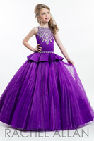 Girl Beads Satin Hot sell cute parkly Beaded Purple Ball Gown Girls Pageant Dresses New Kids Birthday Prom Dress Customized