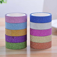 Wholesale Glitter Adhesive Tape - 2017 new 5M DIY Self-adhesive Glitter Paper Tape Sticker Wedding Birthday Festival Decoration Home Decor free shipping