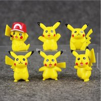 Wholesale Wholesale Kids Collectables - 3.5-4.5cm Anime Poke Pikachu PVC Action figure Collectable model toy for kids gift 6pcs set free shipping EMS