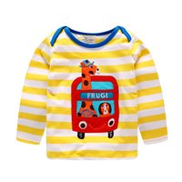 Wholesale Cars Clothes Long Sleeve - Boys clothing T shirt Cartoon car FRUGI Applique Cute Striped Tee Long sleeve Tops wholesale 2017 Fall Autumn 18-24month 2T 3T 4T 5T 6T