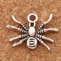 ожерелья насекомых кулон оптовых-Ползать 3D паук насекомых очарование бусины 200 шт./лот 19.3x15mm Антикварные серебряные подвески ювелирные изделия DIY Fit браслеты ожерелье серьги L037