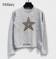 Wholesale Computer Points - Free Shipping 2017 Gray Five-Pointed Stars Print Women's Sweaters Fashion Woolen Pullover Women high quality S061718