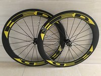 Wholesale Road Wheels Disc - Yellow HED Carbon Wheels Clincher 60mm 700C Disc Brake Road Bike Carbon Wheelset 23 25mm Width Wheelset Cheap Carbon Bike