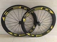 Wholesale Fix Gear Wheels - Yellow HED Carbon Wheels Clincher 60mm 700C Disc Brake Road Bike Carbon Wheelset 23 25mm Width Wheelset Cheap Carbon Bike