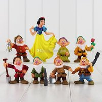 Wholesale Snow White Seven Dwarfs - EMS 5.5-10cm Princess Snow White and the Seven Dwarfs PVC Action Figure Collectable Model for Kids Gift free shiping