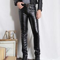 Wholesale Leather Pants 36 Men - Hot Sales Male Black Faux Leather Pants Skinny Motorcycle Riding Pants Slim Fit Trousers for Men Size 28-36 WR0173