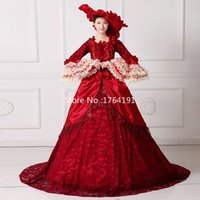 Wholesale Medieval Wine - Real Photo 2017 Wine Red Square Collar Long Flare Sleeve Bow Lace Court Train Marie Antoinette Long Dresses For Party