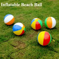 Wholesale Outdoor Balloons - 23cm Inflatable Beach Ball Multi-colour Outdoor Beach Ball Water Sports Balloon Water Toys Best Summer Toys For Children