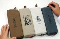 Discount canvas string bag - Wholesale- Retro Paris Classic 4Colors 18CM Canvas School Kids Girl's Pen Pencil BAG Case ; Women Makeup Pen Storage Purse Wallet Pouch BAG