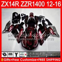 Wholesale R 16 - Bodywork For KAWASAKI NINJA ZZR1400 14 R ZX14R 12 13 14 15 16 64HM4 wine red ZZR 1400 ZX-14R ZX 14R 2012 2013 2014 2015 2016 Fairing kit