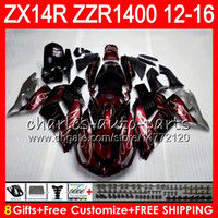kawasaki ninja zx14r großhandel-Karosserie Für KAWASAKI NINJA ZZR1400 14 R ZX14R 12 13 14 15 16 64HM4 weinrot ZZR 1400 ZX-14R ZX 14R 2012 2013 2014 2015 2016 Verkleidung kit