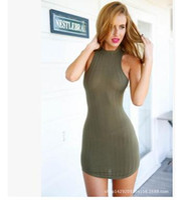 Wholesale Mini See Through - 2017 Summer Women Sexy Micro Mini Short Dresses Sheer Open Back Wrap Sleeveless Knitted Club Wear Ladies See Through Sheath Bodycon Dress