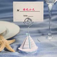 bild boote großhandel-Hochzeitssitzkartenhalter Segelboot Bild Memo Foto Hinweis Bildnachricht Clip Party Favors Delicate Souvenirs 3 2yk F R