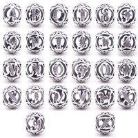 Wholesale Religious Supplies - Authentic 925 Sterling Silver 26 Letters beads crystal Big Hole Loose alphabet beads charms for bracelets jewelry making craft Supplies