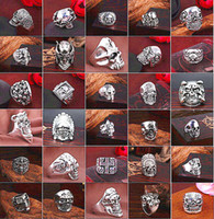 Wholesale Assorted Sports - Top Gothic Punk Assorted Skull Sports Bikers Women's Men's Vintage Antique Silver Skeleton Jewelry Ring 50pcs Lots Wholesale