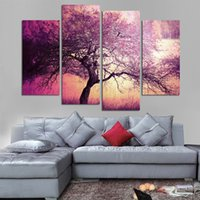 Unframed Artworks Impreso Purple Tree Landscape Group Painting Modern Wall Art Decoración de la habitación de los niños Cartel Poster Picture Canvas