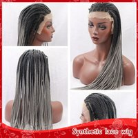 Wholesale Grey Synthetic Wigs - Hot Sexy Ombre Grey Braiding Synthetic Hair Glueless Brazilian Lace Front Wigs with baby hair Heat Resistant Black to Grey Braided Hair