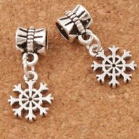 Wholesale Cute Silver Flats - Small Cute Flower Snowflake Metal Big Hole Beads 120pcs lot 11x24mm Tibetan Silver Dangle Fit European Charm Bracelets Jewelry DIY B734