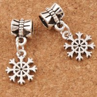 Barato Pulseira Diy Flor Bead-Small Cute Flower Snowflake Metal Big Hole Beads 120pcs / lot 11x24mm Tibetan Silver Dangle Fit European Charm Bracelets Jóias DIY B734