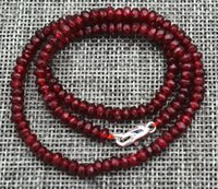 Wholesale Ruby Faceted Necklace - New 2x4mm Faceted Garnet Red Ruby Handmade Gemstone necklace 18 inch Silver clasps A