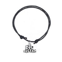 Wholesale Big Sister Silver Charm - Mixed Colors Adjustable Charm Bracelet Antique Silver Plated Big Sister Charm Wax Cord Bracelet For Gift Jewelry