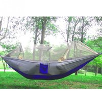 Wholesale Ultralight Hammock Camping - Wholesale- Camping Hammock Mosquito Net Hammock Bed Widened Parachute Fabric Ultralight Comfort for Hiking Travel Outdoors and Backpacking