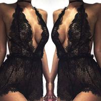 v örgü gövdesi toptan satış-Toptan-2017 Kadınlar Bayanlar Mesh Dantel Pijama Seksi V Boyun Erotik Babydoll Lingerie Strappy Sütyen Halter Gece Elbise Bodysuit ...
