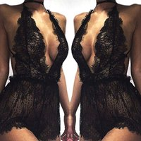 Wholesale wholesale robes - Women Ladies Mesh Lace Sleepwear Sexy V Neck Erotic Babydoll Lingerie Strappy Bra Halter Night Dress Bodysuit robe de nuit