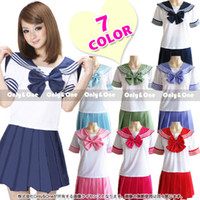 Wholesale Sexy Sailor Men Costume - Japanese School Uniform - 2016 Newest Sexy Sailor Costumes 7 COLORS Anime Girls Dress Cosplay Costume