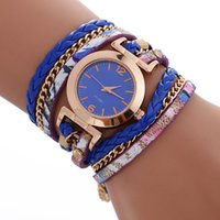 Wholesale rope belted dress - Simple Design Small Dial 2017 Women Leather Long Straps Bracelet Watch New Wholesale Ladies Chain Retro Rope Weave Dress Watches