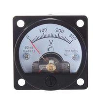 medidores analógicos al por mayor-AC 0-300V Ronda Analog Dial Panel Medidor Voltímetro Gauge Negro Nuevo