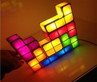 Wholesale New Year Puzzle Diy - DIY Tetris Puzzle Light Stackable LED Desk Lamp Constructible Block Night Light Retro Game Tower Baby Colorful Brick Toy