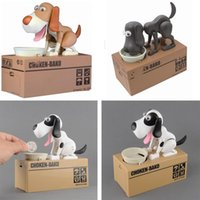 Grossiste-Qualité mécanique Adorable Puppy Hungry robotique Chien Kid Coin Banque Save Saving Box Collection Piggy Bank Cadeau