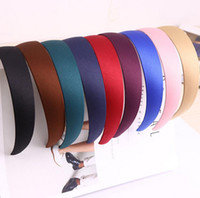Wholesale plastic headband wholesale - High quality Temperament retro simple wide-brimmed hoop practical solid color cloth headband TG045 mix order 30 pieces a lot