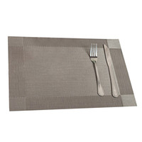 almohadilla de barra al por mayor-Al por mayor-útil 4pcs barra de la tabla de la cocina estera del PVC Placemat cuadrados accesorios de cocina mesa de comedor estera cojín decoración de mesa gris