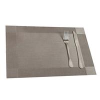 tapis gris achat en gros de-Gros-Utile 4 Pcs Cuisine Table Bar Tapis PVC Napperon Carré Cuisine Accessoires Salle À Manger Table Tapis Bol Pad Table Decor Gris