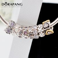 Wholesale Bracelet Charms Spacers - DARAPANG European Style New Arrival 925 Sterling Silver Clearly CZ Pink Silver Spacers Charms fit Bracelet Women Fashion Jewelry 4001-8