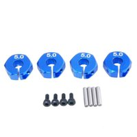 Wholesale Tamiya Wholesalers - RC Blue Alum 5.0 Wheel Hex Drive With Pins Screws 4P For HSP HPI Tamiya Car