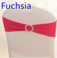 Wholesale chair ties for weddings - Fuchsia colour on sale chair sash with Round buckles for chair covers spandex band lycra sash bow tie wedding decoration