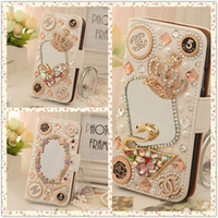 Wholesale Diamond Case For Galaxy S4 - Hand-made Diamond Wallet Leather Case Luxury Bling PU Cover With Card Slot For iPhone 5 6 7 Plus Galaxy S4 S5 S6 S7 edge Note 4 5