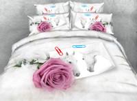 conjuntos de cama florais rosa rosa rosa venda por atacado-Rosa Rosa 3D Impresso Tecido de Algodão Conjuntos de Cama Gêmeo Completa Rainha King Size Capas de Edredão Travesseiro Shams Comforter Flor Animal Cavalo casamento