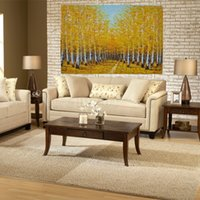 Wholesale Tree Artist Oil Paintings - Yi Le Mai Frameless Pure Hand Painted Modern Home Design Wall Decoration Artist Oil Paintings on Canvas Yellow Tree for Living Room