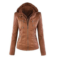 Wholesale Leather Jackets Xl - Women's PU Leather Jacket Hooded Lapel Zipper Pockets Removable Jackets Coat Plus Size S-7XL