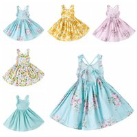 Wholesale dress suspenders ruffle - 2017 Summer Print floral Dress Girl ruffles Off Shoulder Princess Children Dresses for party and wedding Kids Clothing